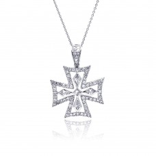 **Closeout** Sterling Silver Clear CZ Rhodium Plated Fancy Cross Pendant Necklace - STP00126