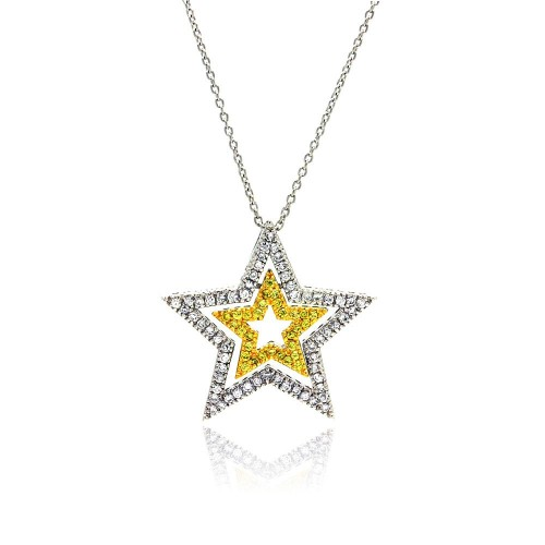 **Closeout** Wholesale Sterling Silver 925 Clear and Yellow CZ Rhodium Plated Triple Star Pendant Necklace - STP00128