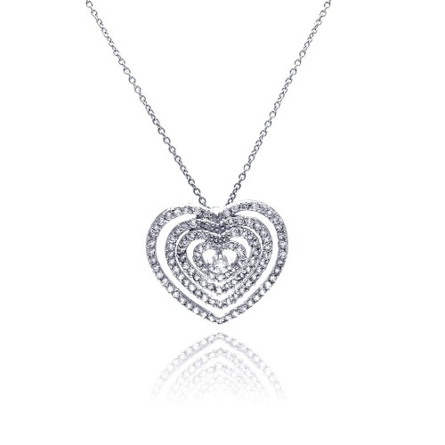 **Closeout** Wholesale Sterling Silver 925 Clear CZ Rhodium Plated Multi Layered Hearts Pendant Necklace - STP00133