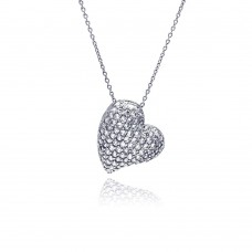 **Closeout** Sterling Silver Clear CZ Rhodium Plated Encrusted Heart Pendant Necklace - STP00134