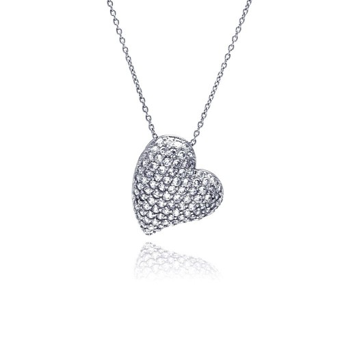 -Closeout- Wholesale Sterling Silver 925 Clear CZ Rhodium Plated Encrusted Heart Pendant Necklace - STP00134