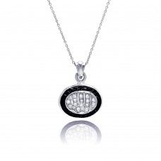 **Closeout** Sterling Silver Clear Black CZ Rhodium Plated Allah Pendant Necklace - STP00139