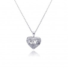 **Closeout** Sterling Silver Clear CZ Rhodium Plated I Love You Pendant Necklace - STP00141