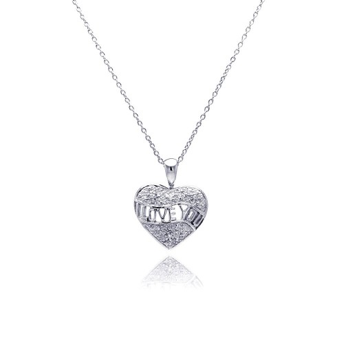 **Closeout** Wholesale Sterling Silver 925 Clear CZ Rhodium Plated I Love You Pendant Necklace - STP00141