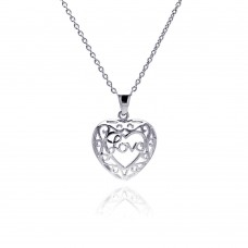 Sterling Silver Rhodium Plated Heart Love Accent Pendant Necklace - STP00142