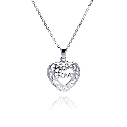 -Closeout- Wholesale Sterling Silver 925 Rhodium Plated Heart Love Accent Pendant Necklace - STP00142