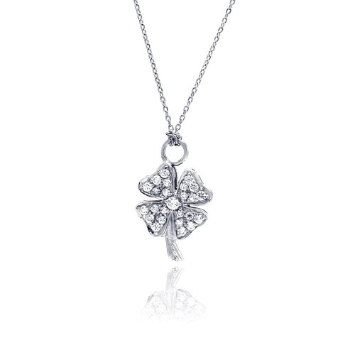 Wholesale Sterling Silver 925 Clear CZ Rhodium Plated Clover Pendant Necklace - STP00143