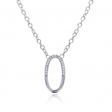 **Closeout** Sterling Silver Clear CZ Rhodium Plated Oval Pendant Necklace - STP00149