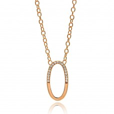 **Closeout** Sterling Silver Rose Gold Plated Oval Pendant Necklace - STP00149RGP