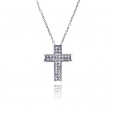 **Closeout** Sterling Silver Clear CZ Rhodium Plated Cross Pendant Necklace  - STP00150