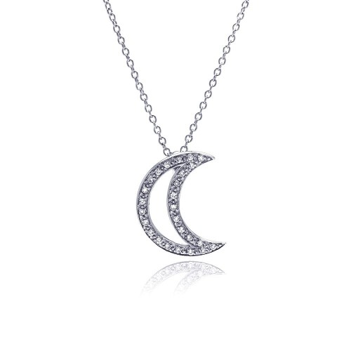 Wholesale Sterling Silver 925 Clear CZ Rhodium Plated Half Moon Pendant Necklace - STP00152
