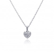 Sterling Silver Clear CZ Rhodium Plated Classic Heart Pendant Necklace - STP00154