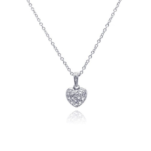 Wholesale Sterling Silver 925 Clear CZ Rhodium Plated Classic Heart Pendant Necklace - STP00154