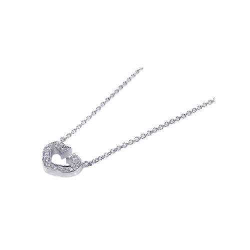 **Closeout** Wholesale Sterling Silver 925 Clear CZ Rhodium Plated Open Heart Pendant Necklace - STP00156
