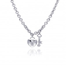 **Closeout** Sterling Silver Clear CZ Rhodium Plated Heart Key Pendant Necklace - STP00157