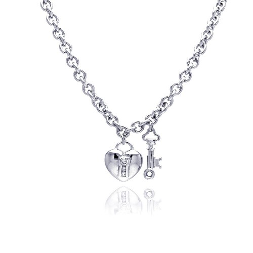 **Closeout** Wholesale Sterling Silver 925 Clear CZ Rhodium Plated Heart Key Pendant Necklace - STP00157