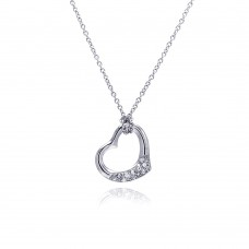 Sterling Silver Clear CZ Rhodium Plated Heart Pendant Necklace - STP00161