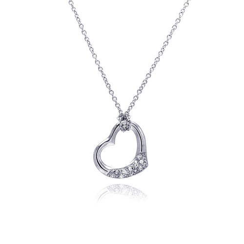 Wholesale Sterling Silver 925 Clear CZ Rhodium Plated Heart Pendant Necklace - STP00161