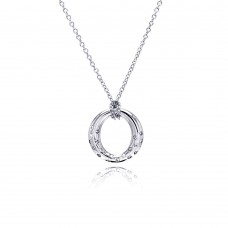 **Closeout** Sterling Silver Clear CZ Rhodium Plated Round Pendant Necklace - STP00162