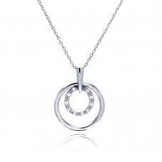 Sterling Silver Clear CZ Rhodium Plated 2 Round Pendant Necklace - STP00163