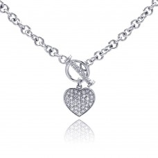 **CLOSEOUT** Sterling Silver Clear CZ Rhodium Plated Heart Toggle Pendant Necklace - STP00164