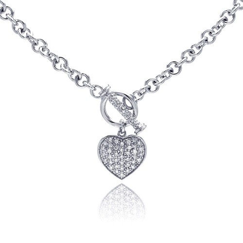 -CLOSEOUT- Wholesale Sterling Silver 925 Clear CZ Rhodium Plated Heart Toggle Pendant Necklace - STP00164