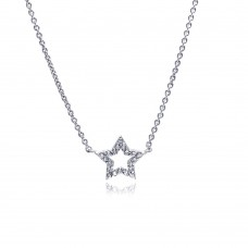 Wholesale Sterling Silver 925 Clear CZ Rhodium Plated Star Pendant Necklace - STP00166