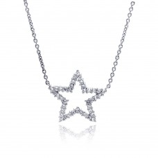 -Closeout- Wholesale Sterling Silver 925 Clear CZ Rhodium Plated Star Pendant Necklace - STP00167