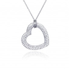 **Closeout** Sterling Silver Clear CZ Rhodium Plated Heart Pendant Necklace - STP00168