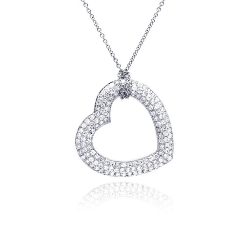 -Closeout- Wholesale Sterling Silver 925 Clear CZ Rhodium Plated Heart Pendant Necklace - STP00168