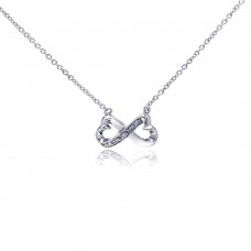 Sterling Silver Clear CZ Rhodium Plated Bowtie Pendant Necklace - STP00170