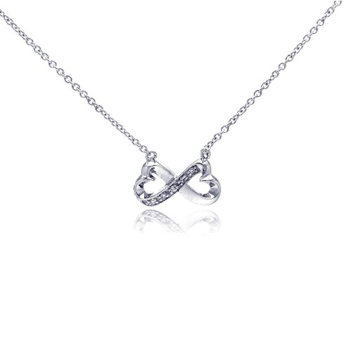 Wholesale Sterling Silver 925 Clear CZ Rhodium Plated Bowtie Pendant Necklace - STP00170