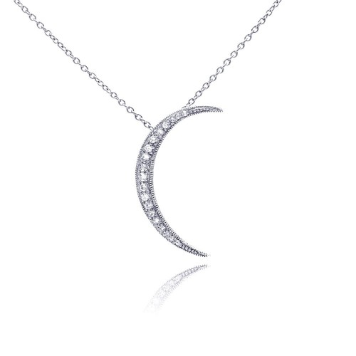 Wholesale Sterling Silver 925 Clear CZ Rhodium Plated Solar Pendant Necklace - STP00171