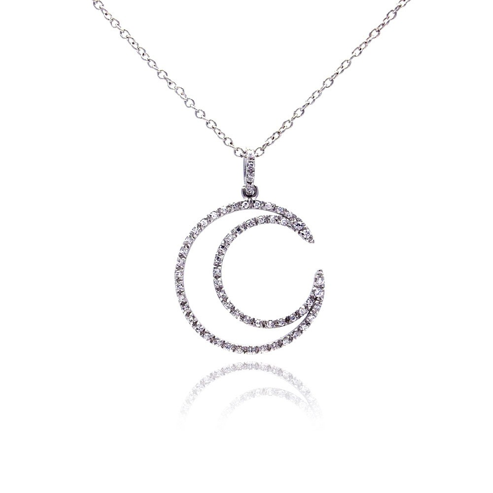 Wholesale Sterling Silver 925 Clear CZ Rhodium Plated Open Circle Pendant Necklace - STP00172