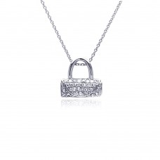 **Closeout** Sterling Silver Clear CZ Rhodium Plated Handbag Pendant Necklace - STP00178