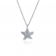 Wholesale Sterling Silver 925 Clear CZ Rhodium Plated Starfish Pendant Necklace - STP00179