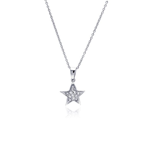 Wholesale Sterling Silver 925 Clear CZ Rhodium Plated Double Star Pendant Necklace - STP00180