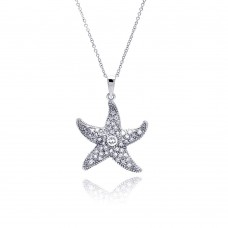 Wholesale Sterling Silver 925 Clear CZ Rhodium Plated Starfish Pendant Necklace - STP00186