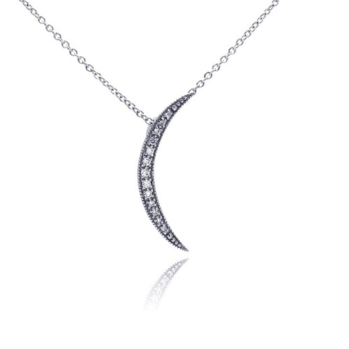 Wholesale Sterling Silver 925 Clear CZ Rhodium Plated Moon Pendant Necklace - STP00193