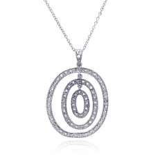 **Closeout** Sterling Silver Clear CZ Rhodium Plated Multi Circular Pendant Necklace - STP00195