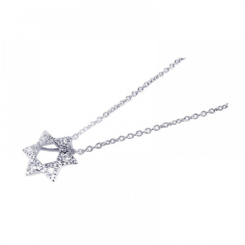 Wholesale Sterling Silver 925 Clear CZ Rhodium Plated Star of David Pendant Necklace - STP00197
