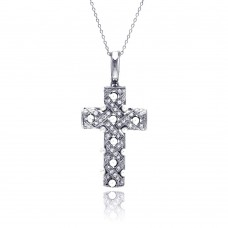 Wholesale Sterling Silver 925 Clear CZ Rhodium Plated Fancy Cross Pendant Necklace - STP00211
