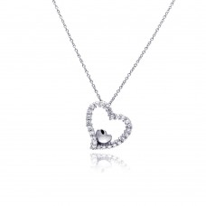 Sterling Silver Clear CZ Rhodium Plated Heart Pendant Necklace - STP00213