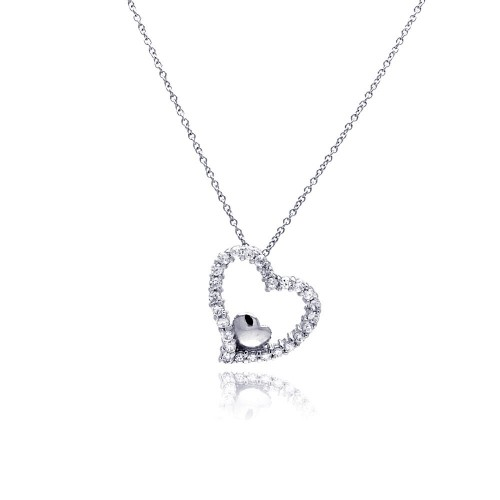 Wholesale Sterling Silver 925 Clear CZ Rhodium Plated Heart Pendant Necklace - STP00213