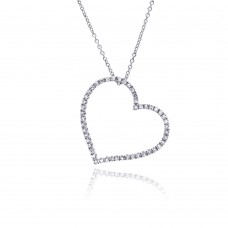 Sterling Silver Clear CZ Rhodium Plated Classic Heart Pendant Necklace - STP00220