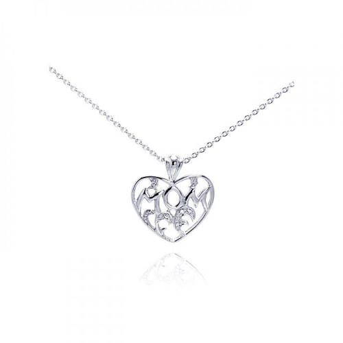 Wholesale Sterling Silver 925 Clear CZ Rhodium Plated Mom Heart Pendant Necklace - STP00226