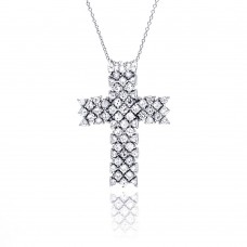 **Closeout** Sterling Silver Clear CZ Rhodium Plated Cross Pendant Necklace - STP00230