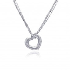 **Closeout** Sterling Silver Clear CZ Rhodium Plated Double Hearts Pendant Necklace - STP00232