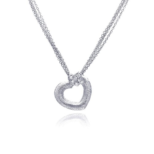 **Closeout** Wholesale Sterling Silver 925 Clear CZ Rhodium Plated Double Hearts Pendant Necklace - STP00232