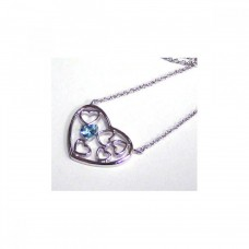 Sterling Silver Blue CZ Rhodium Multi Hearts Plated Pendant Necklace - STP00239